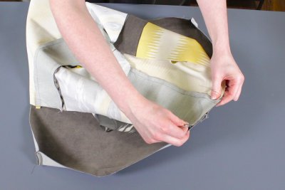 How to Make a Pouf Ottoman - Sew it all together