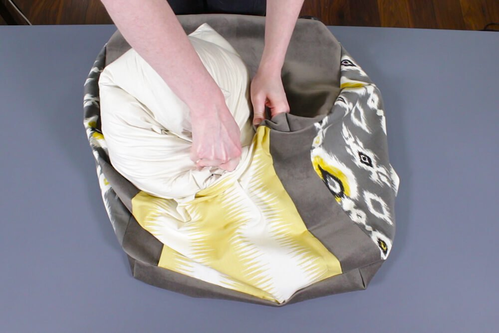 How to Make a Pouf Ottoman - Add the filling