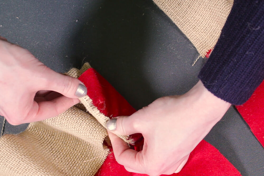 Burlap Tree Skirt - Glue the ends under