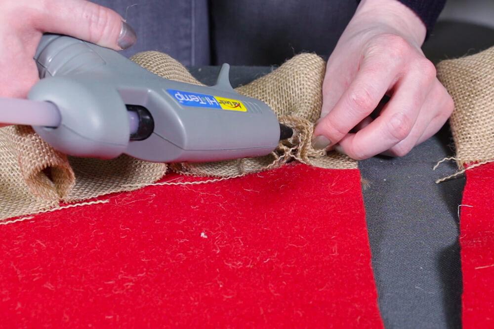 Burlap Tree Skirt - Glue the center of each pleat