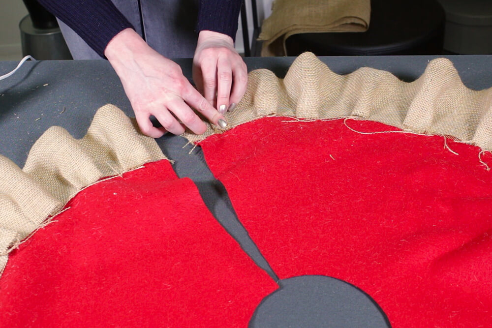 Burlap Tree Skirt - Complete the first row