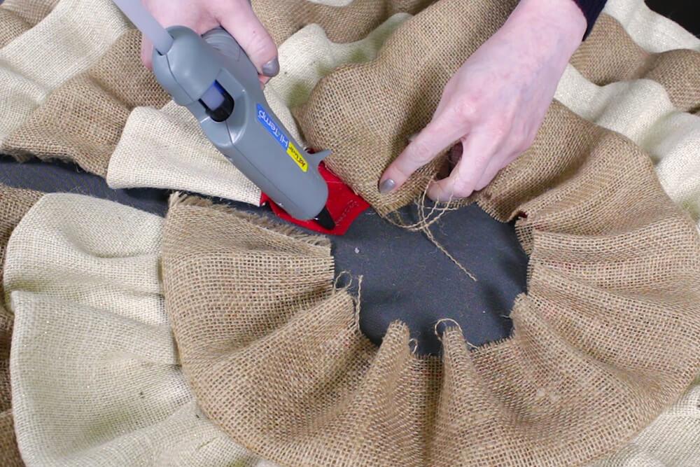 Burlap Tree Skirt - Create small pleats on the last row