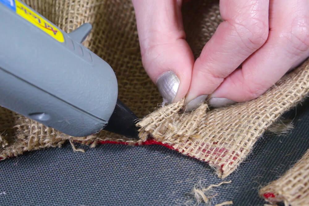 Burlap Tree Skirt - Glue edges so it won't unravel