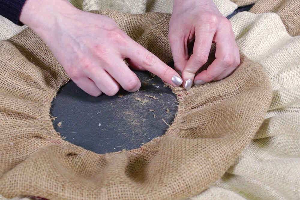 Burlap Tree Skirt - Continue glueing any loose pieces