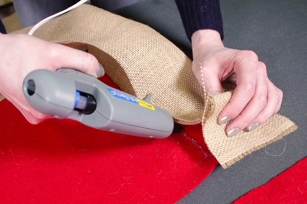 Burlap Tree Skirt - Pinch and glue down