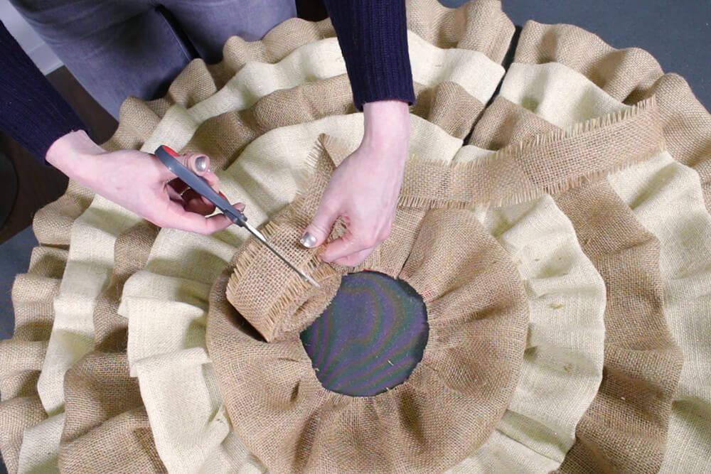 Burlap Tree Skirt - Cut ribbon about 2 feet long