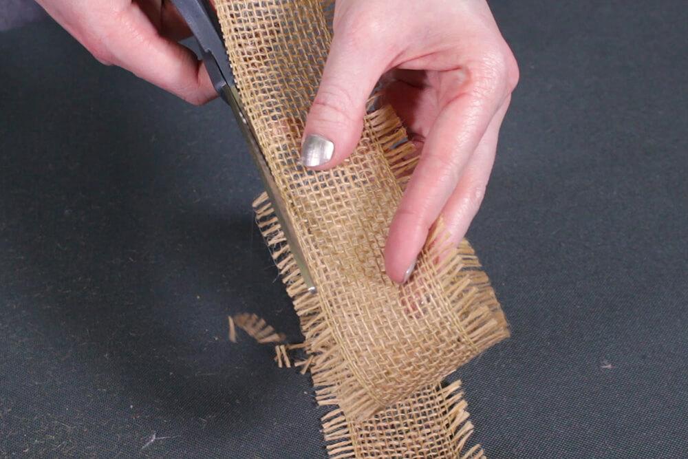 Burlap Tree Skirt - Cut off frayed edges