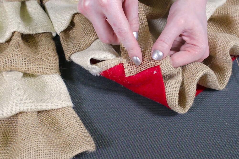 Burlap Tree Skirt - Glue ribbon to the back
