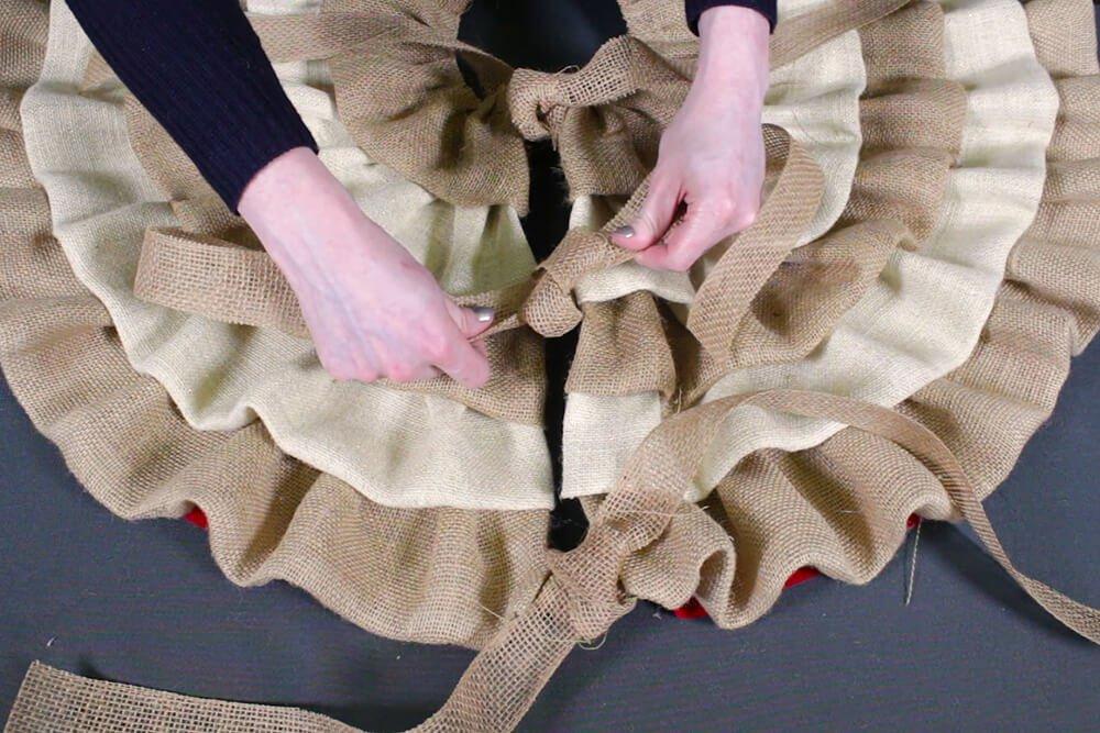 Burlap Tree Skirt - Tie the ribbon