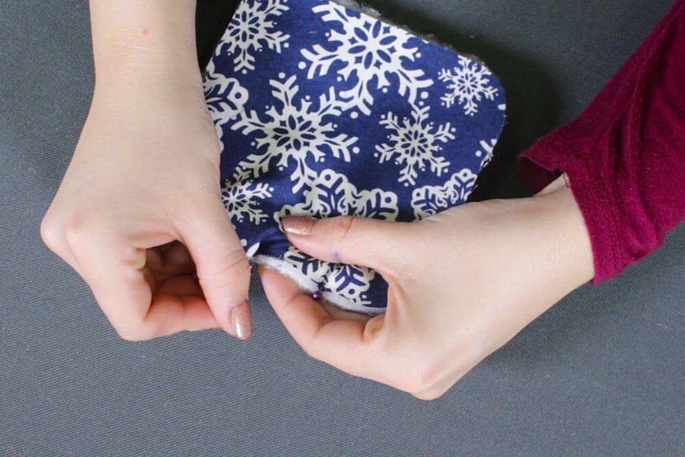 How to Make Fabric Coasters - Pin and stitch the fabric