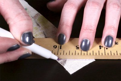 How to Make & Sew Piping - Mark a 45 degree line on the wrong side
