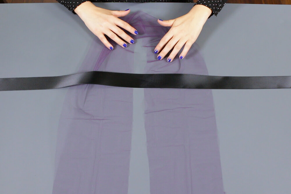 No Sew Tulle Skirt - Create a U shape with tulle under the ribbon