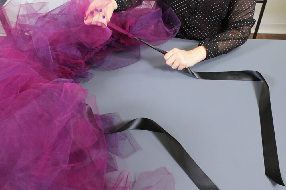No Sew Tulle Skirt - Continue until the skirt is as full as you want it