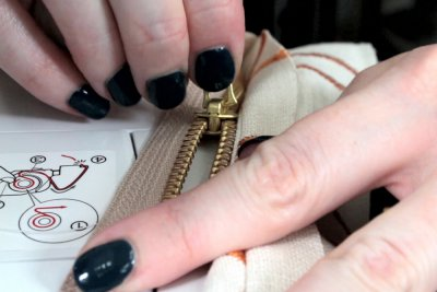 How to Sew an Upholstery Zipper - Move the pull tab