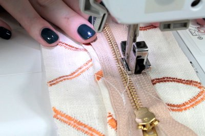 How to Sew an Upholstery Zipper - Sew down the other side