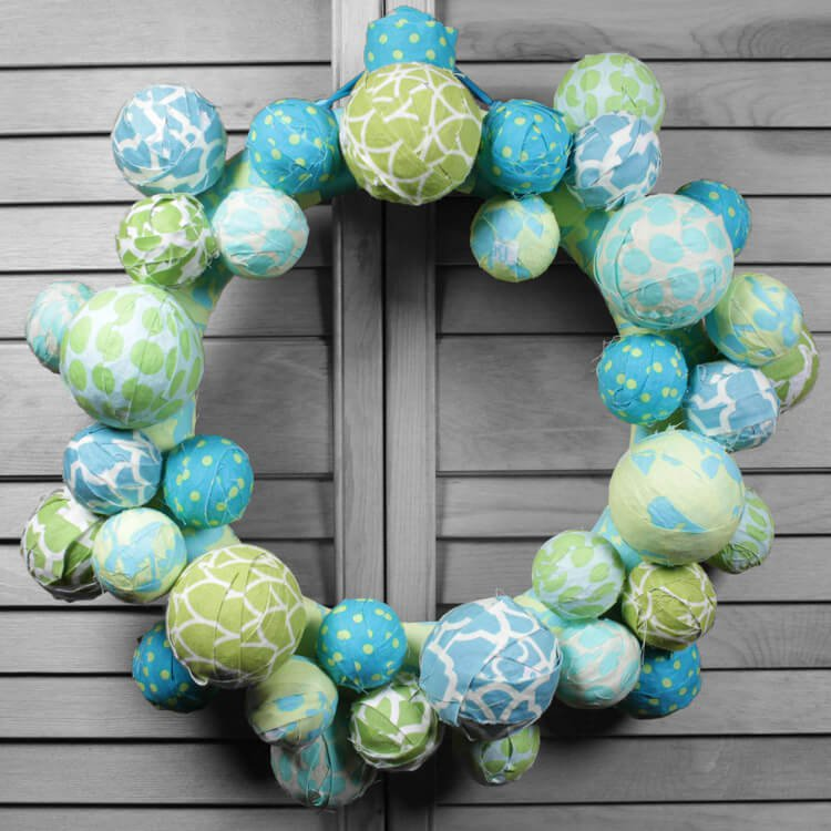 How to Make a Fabric Ball Wreath