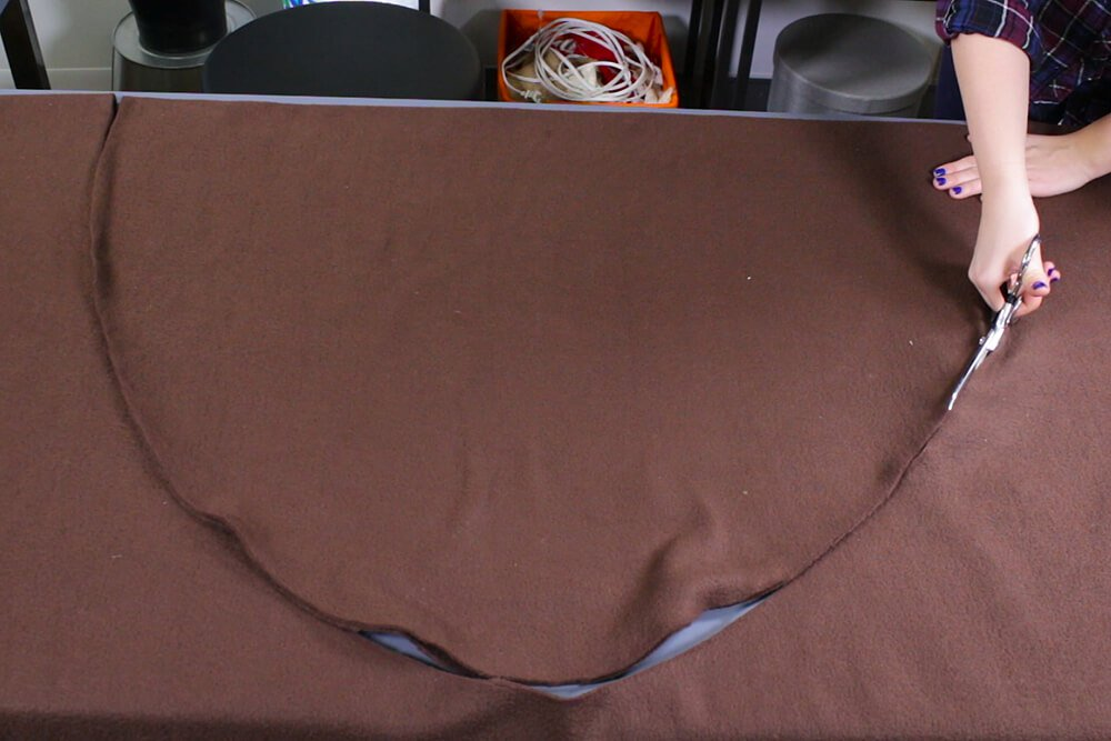 How to Make a No Sew Fleece Dog Bed - Measure and cut the fabric