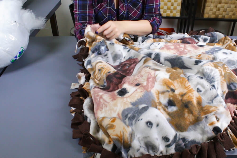 How to Make a No Sew Fleece Dog Bed - Stuff the bed