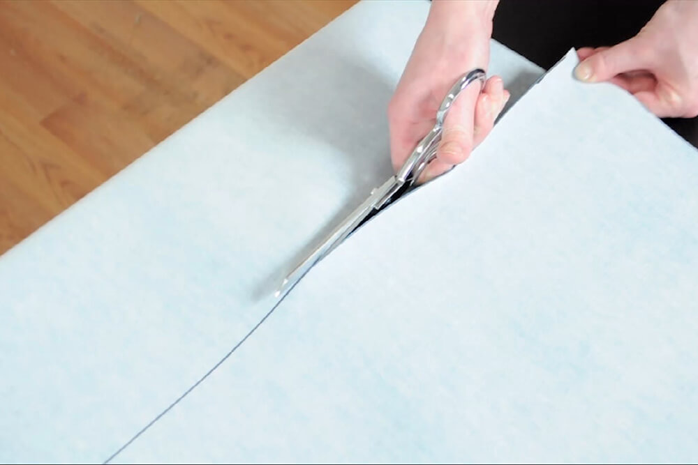 How to Cover a Side Table with Vinyl - Measure and cut the fabric