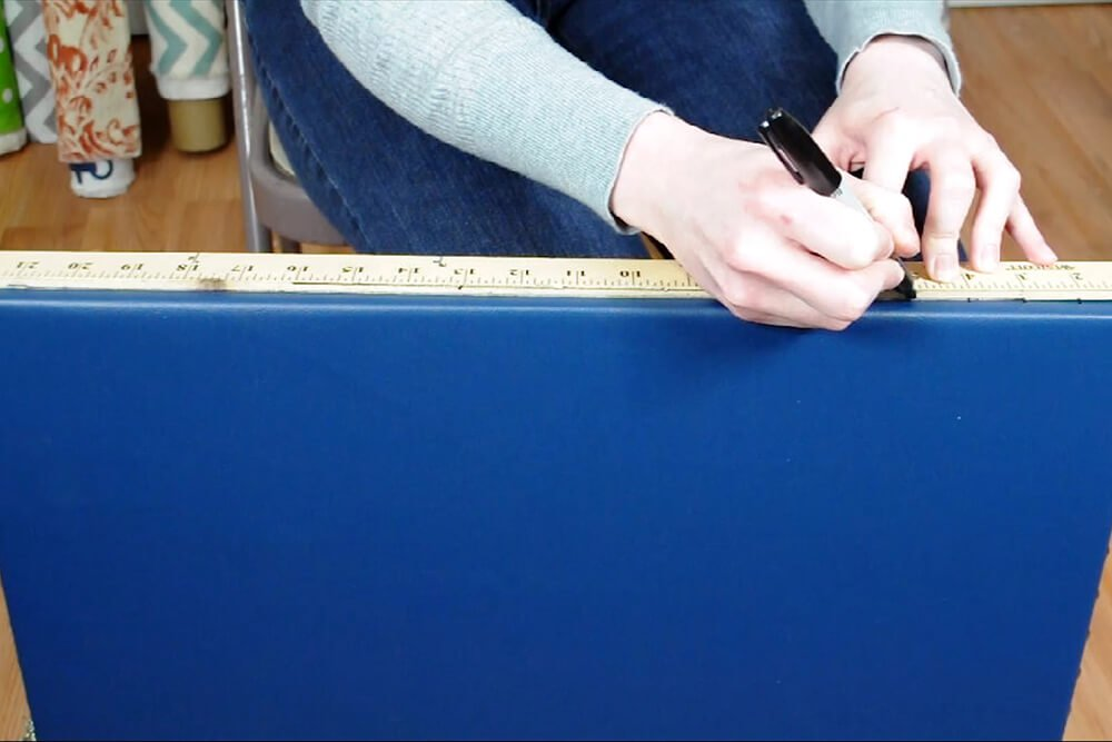 How to Cover a Side Table with Vinyl - Add nail heads