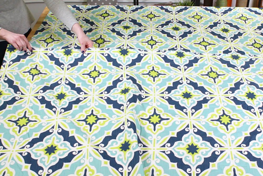 Duvet Cover - Overlap the selvage of a second piece of fabric with the first