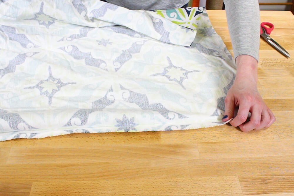 Duvet Cover - Fold the fabric on the seam so right sides are facing