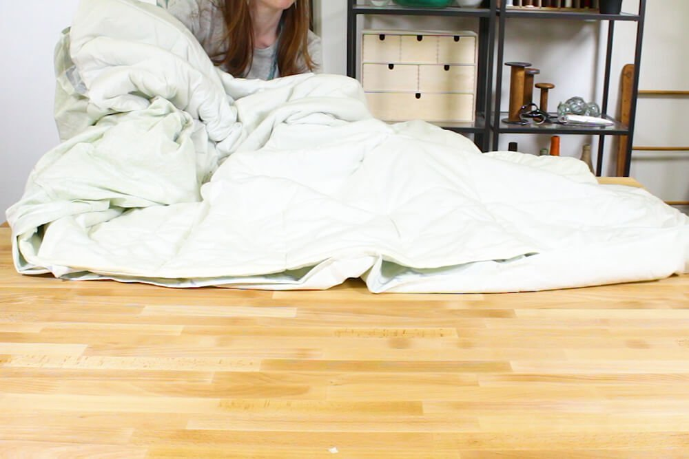 Duvet Cover - Reach inside, grasp the corners and pull to turn right side out