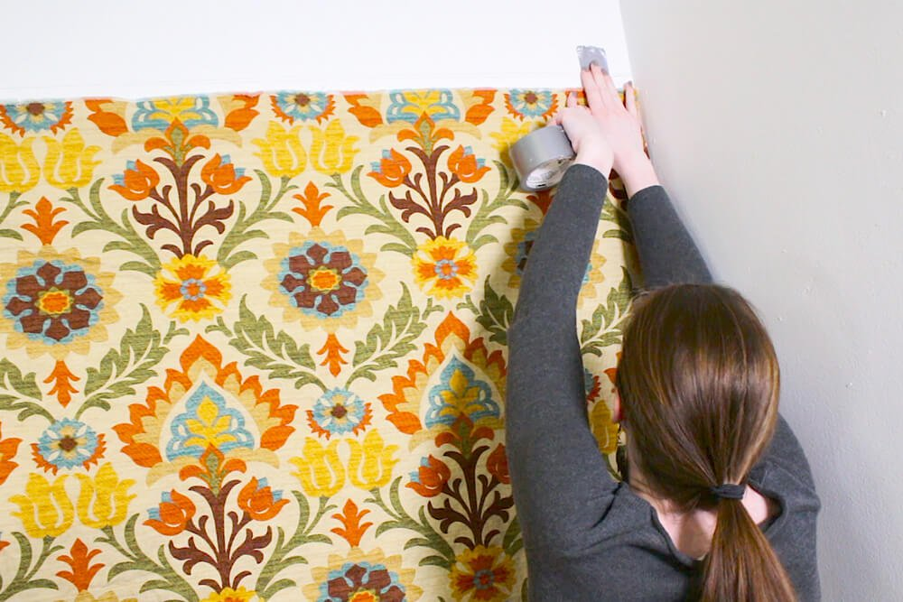 Fabric Wallpaper - Tack or tape the fabric where you want it