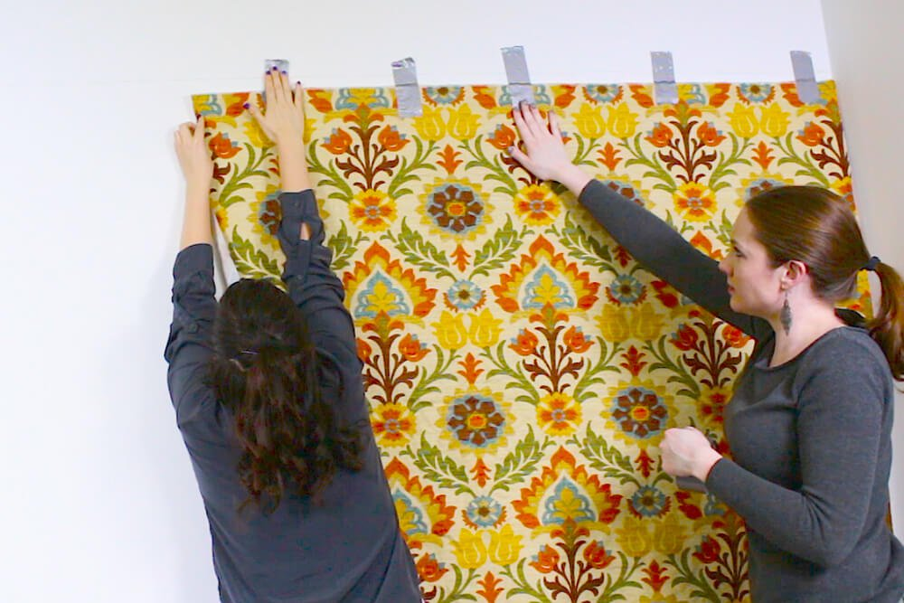 Fabric Wallpaper - It helps to have two people!
