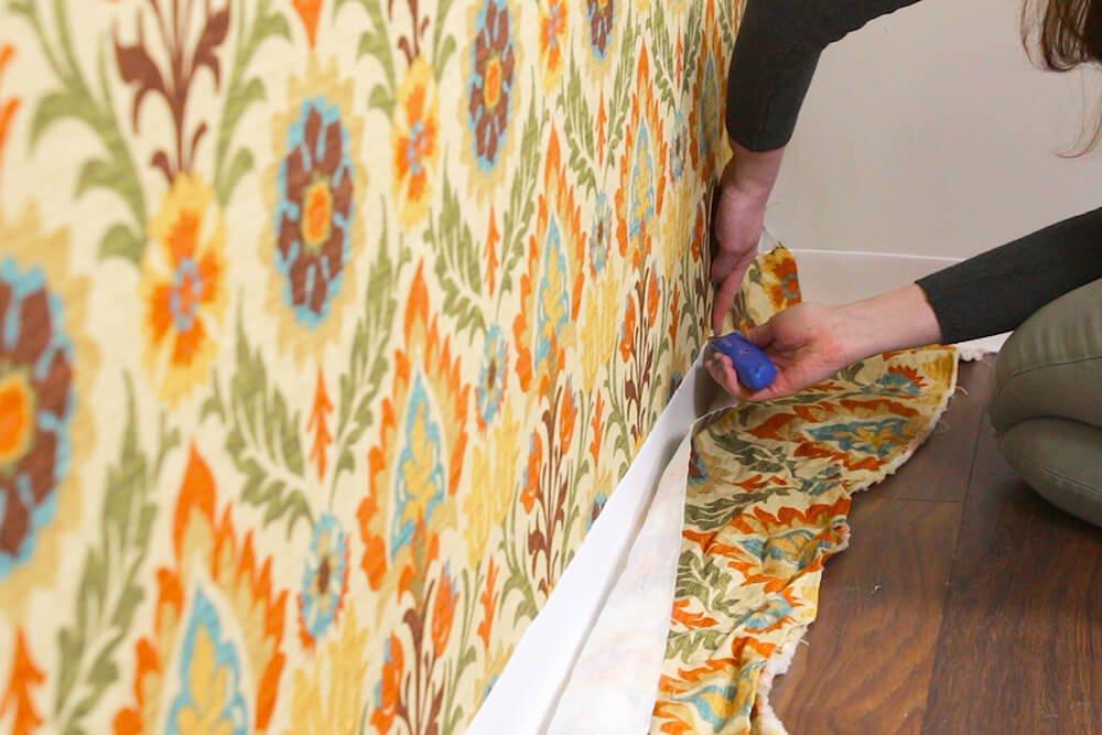 Fabric Wallpaper - Trim extra fabric