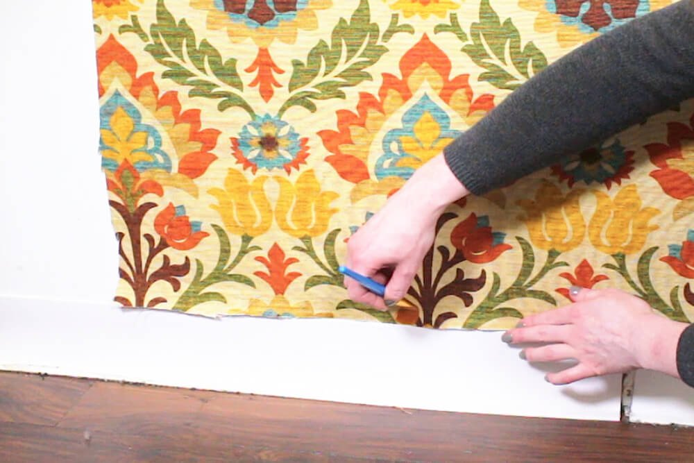 Fabric Wallpaper - Touch up edges with a paint brush