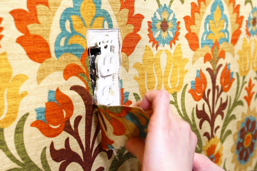 Fabric Wallpaper - Remove fabric from electrical outlets