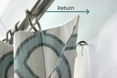 Inverted Box Pleat Curtains - The return