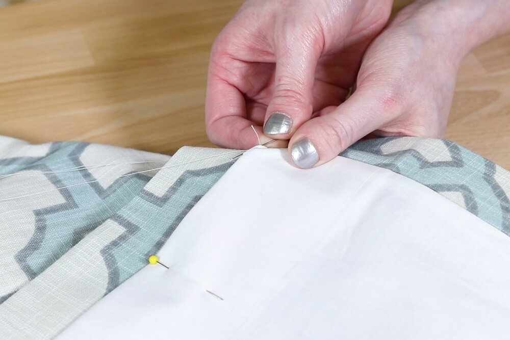 Inverted Box Pleat Curtains - Sew hem with hidden stitch