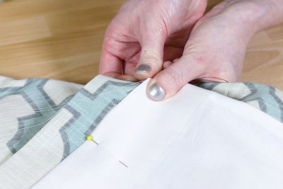 Inverted Box Pleat Curtains - Sew large stitches through crease of lining and one layer of drapery fabric
