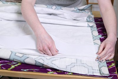 Inverted Box Pleat Curtains - Place buckram under fold