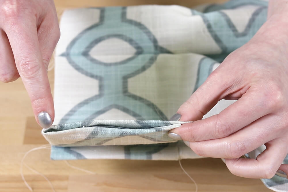 Inverted Box Pleat Curtains - Hand sew ends of heading