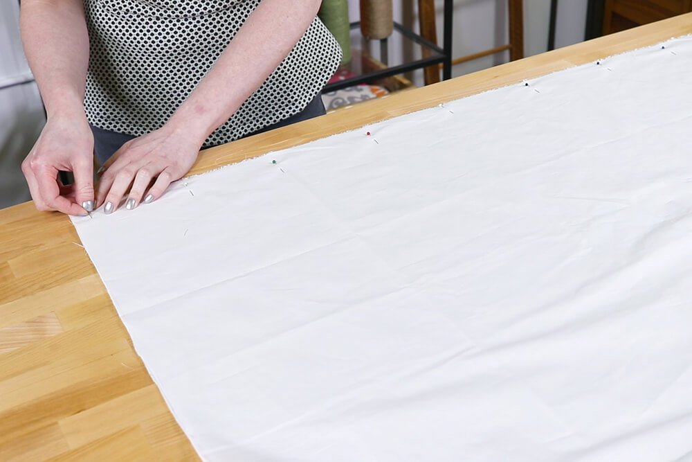 Inverted Box Pleat Curtains - Pin lining pieces together