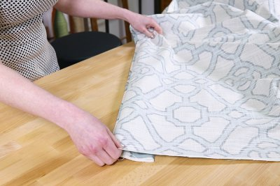 Inverted Box Pleat Curtains - Fold the hem under so just 1/4 inch is showing