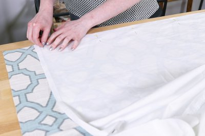 Inverted Box Pleat Curtains - Pin side of lining and drapery fabric together