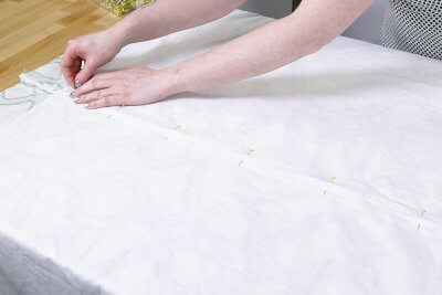 Inverted Box Pleat Curtains - Pin together fabric on seam