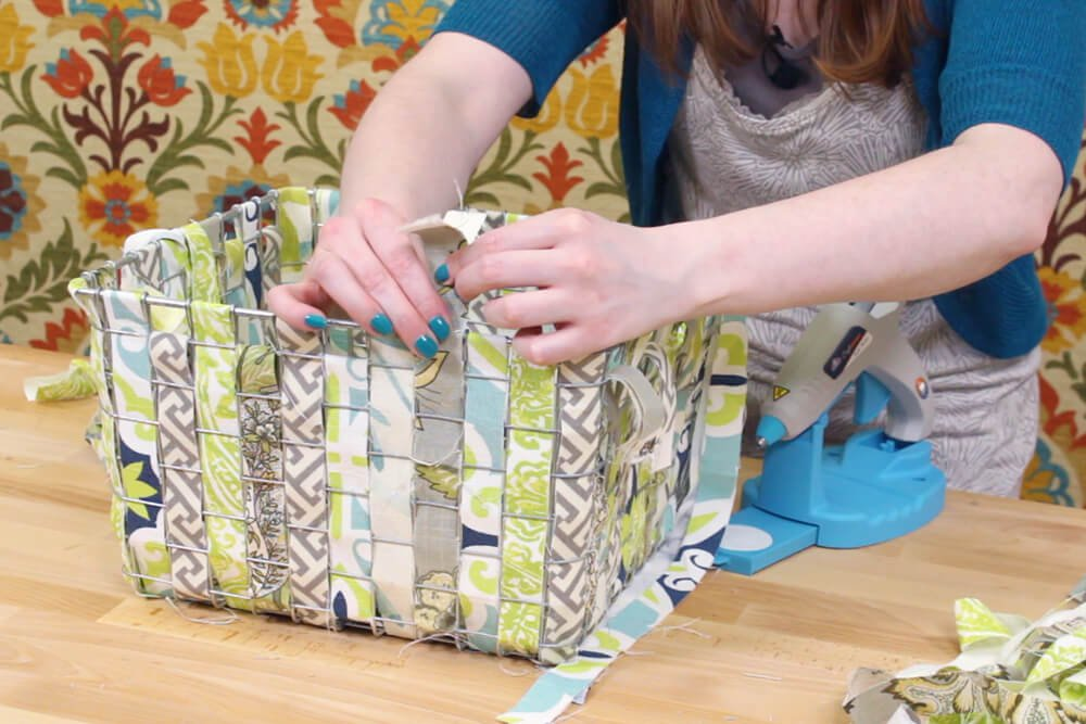 Fabric Woven Wire Basket - Glue the strips together at top