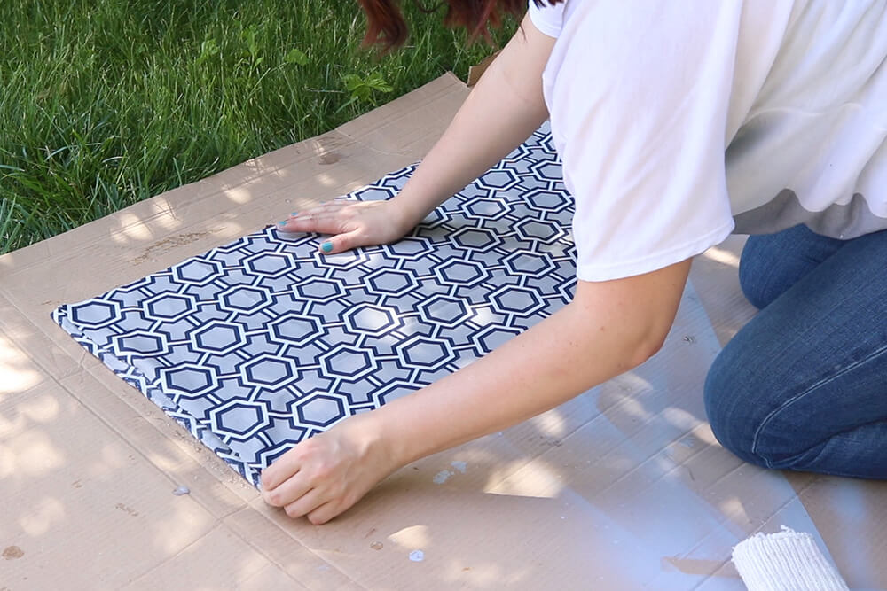 How to Make a Fabric Backed Wooden Shelf - Attach fabric to the back