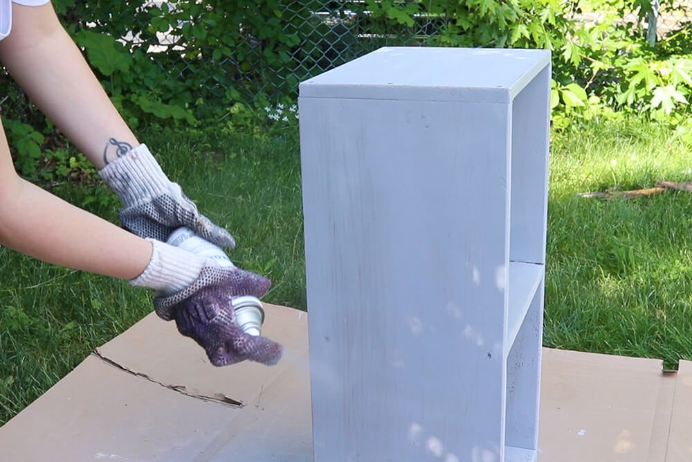 How to Make a Fabric Backed Wooden Shelf - Finish the shelf and reattach the backing