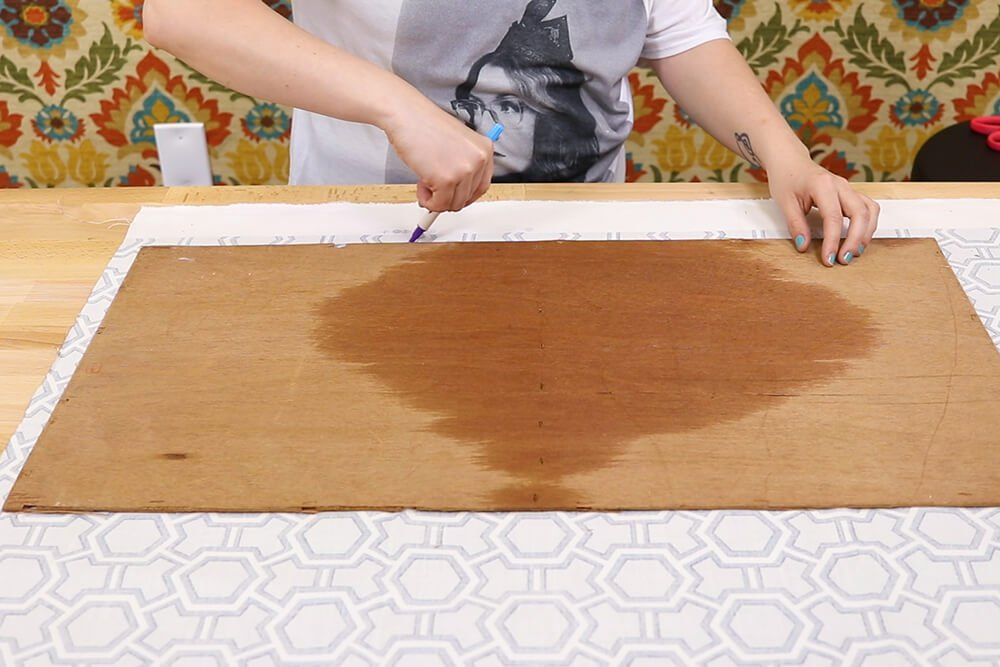 How to Make a Fabric Backed Wooden Shelf - Remove the back