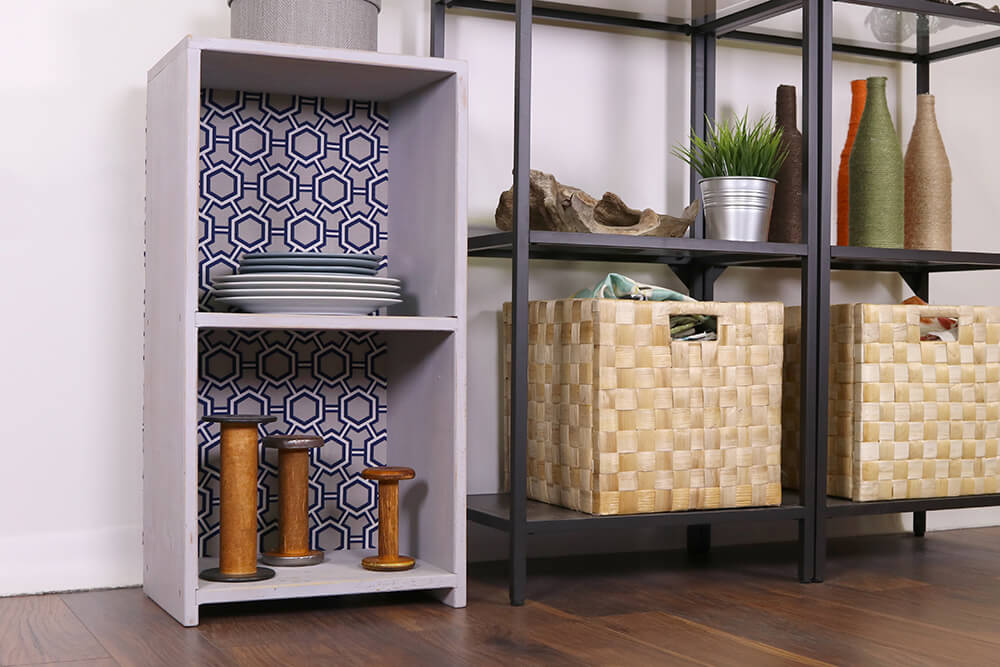 How to Make a Fabric Backed Wooden Shelf - After