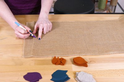 Burlap Table Runner - Draw branches