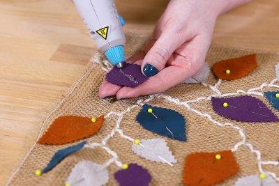 Burlap Table Runner - Hot glue back of leaves