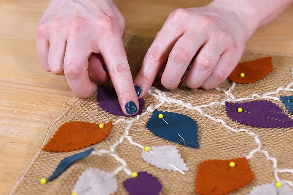 Burlap Table Runner - Glue leaves down