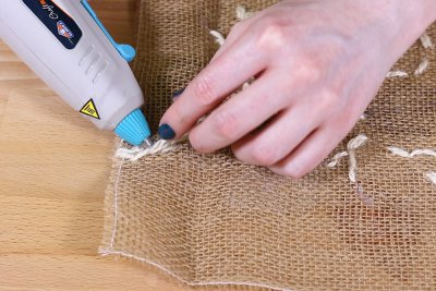 Burlap Table Runner - Hot glue ends of twine on back